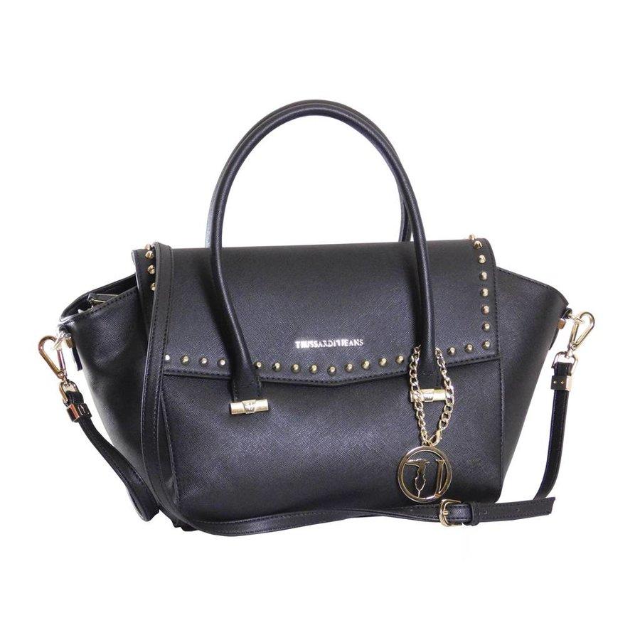Große Schwarze Saffiano Eco-Leder Handtasche-1