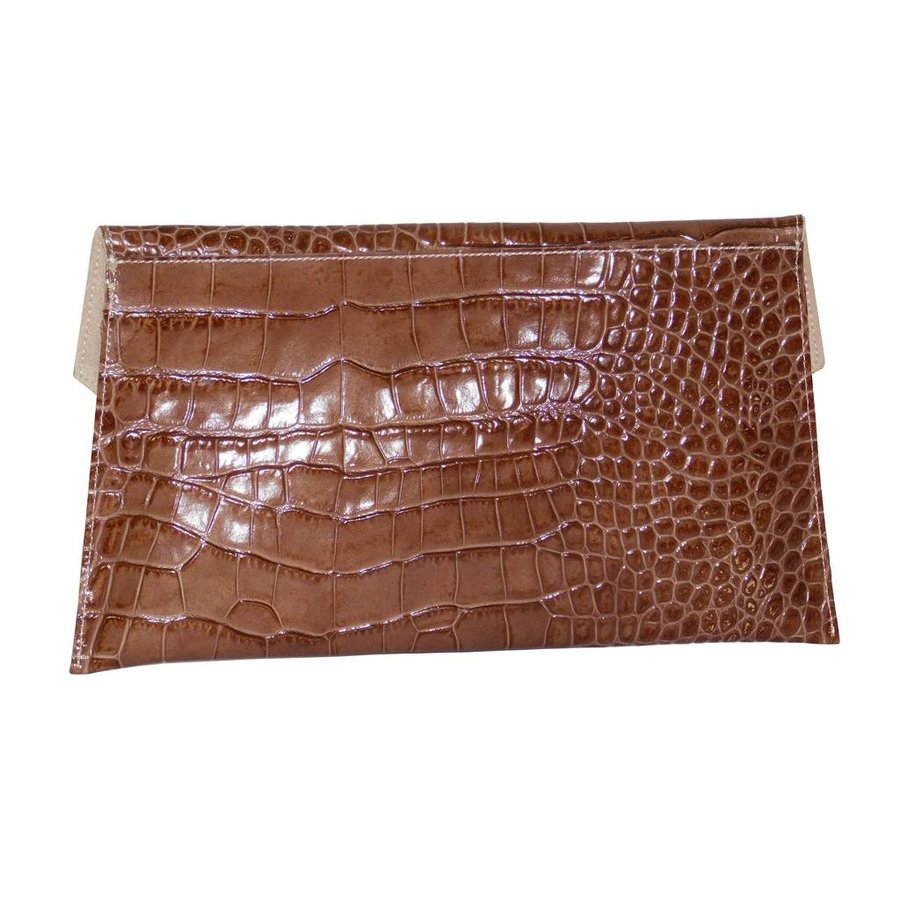 Braune Leder Clutches mit Croco Muster-2