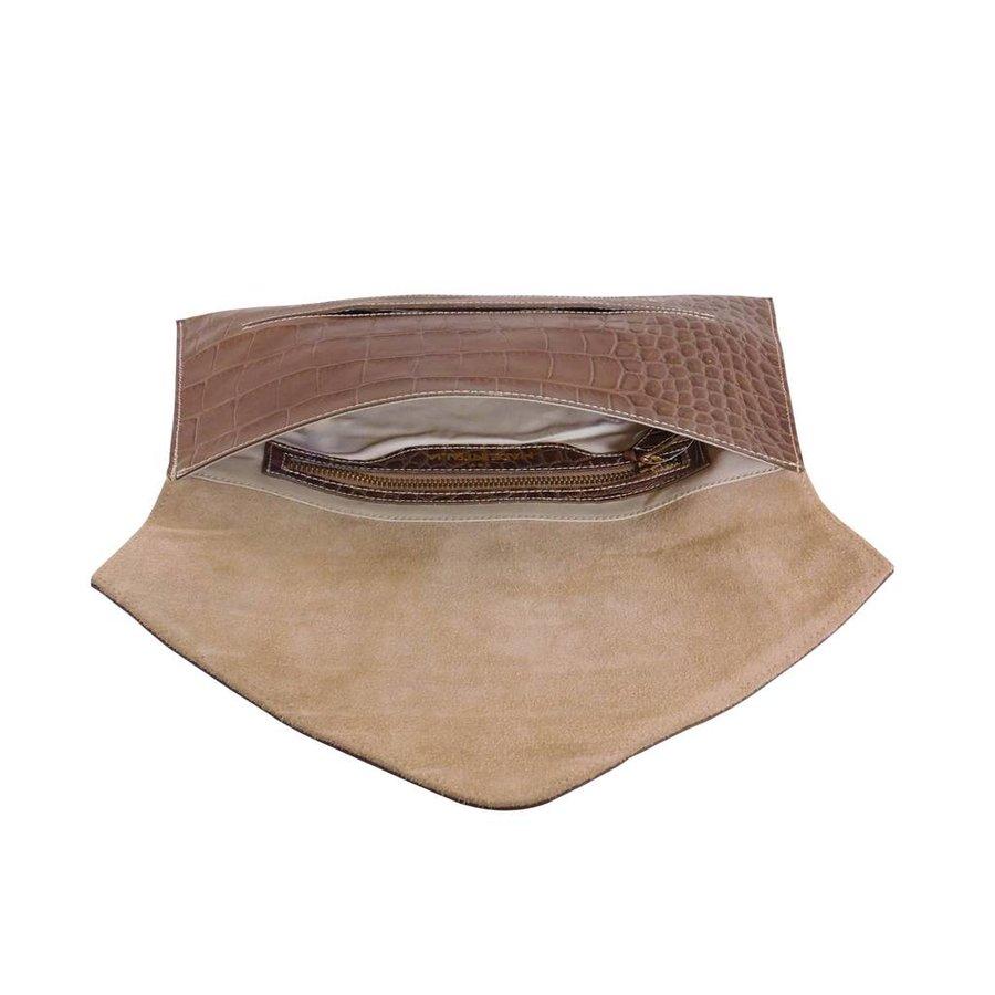 Braune Leder Clutches mit Croco Muster-3
