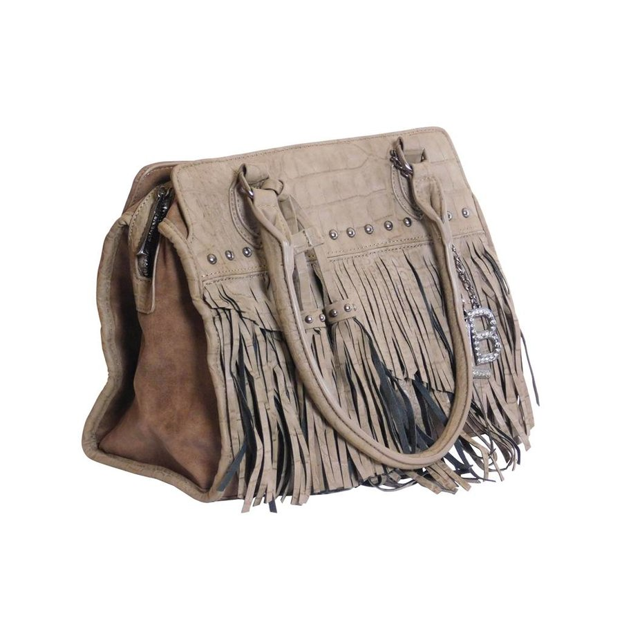 Braune Kunstleder Handtasche mit Fransen-1
