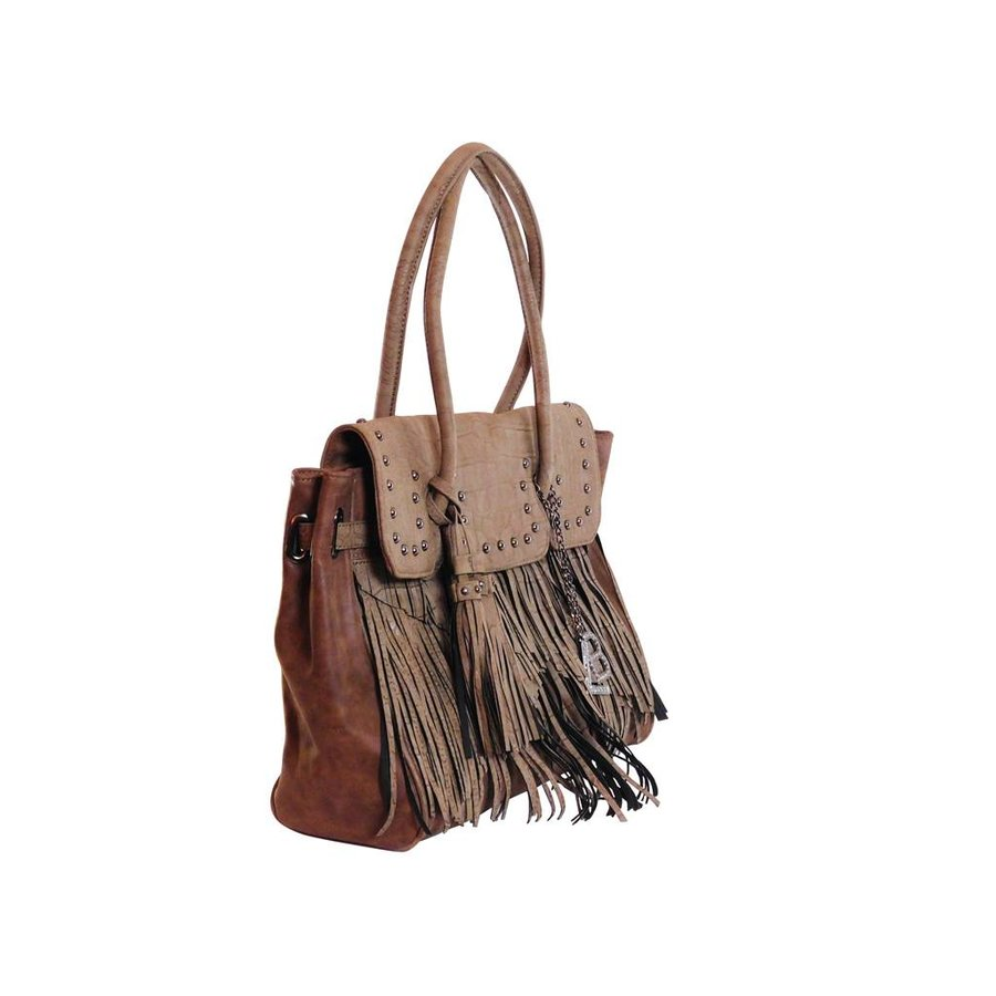 Braune Kunstleder Handtasche mit Fransen-2