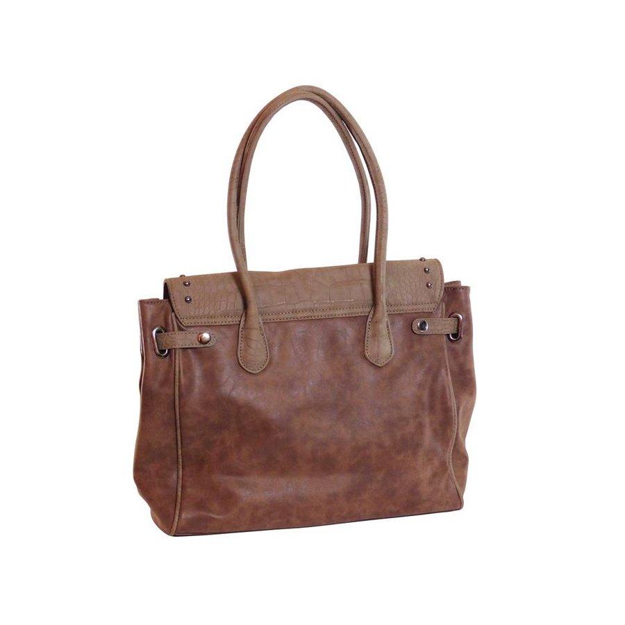 Braune Kunstleder Handtasche mit Fransen-3