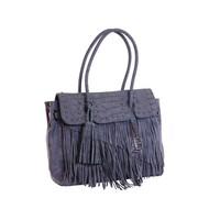 thumb-Blaue Kunstleder Handtasche mit Fransen-1