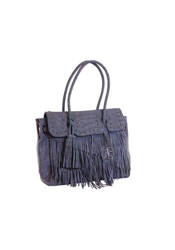 Laura Biagiotti  Blaue Kunstleder Handtasche mit Fransen