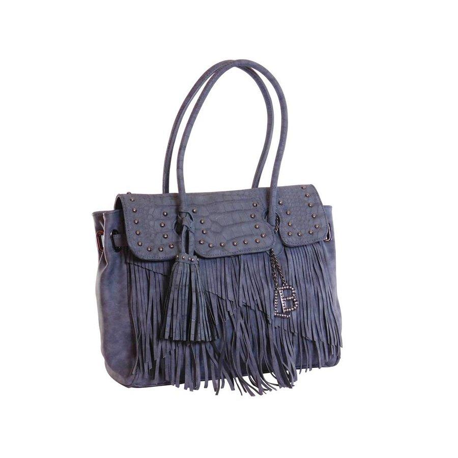 Blaue Kunstleder Handtasche mit Fransen-1