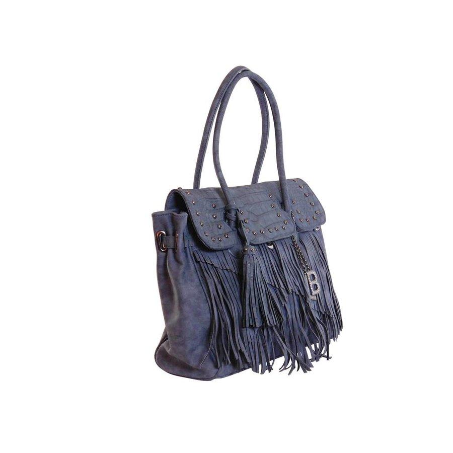 Blaue Kunstleder Handtasche mit Fransen-2