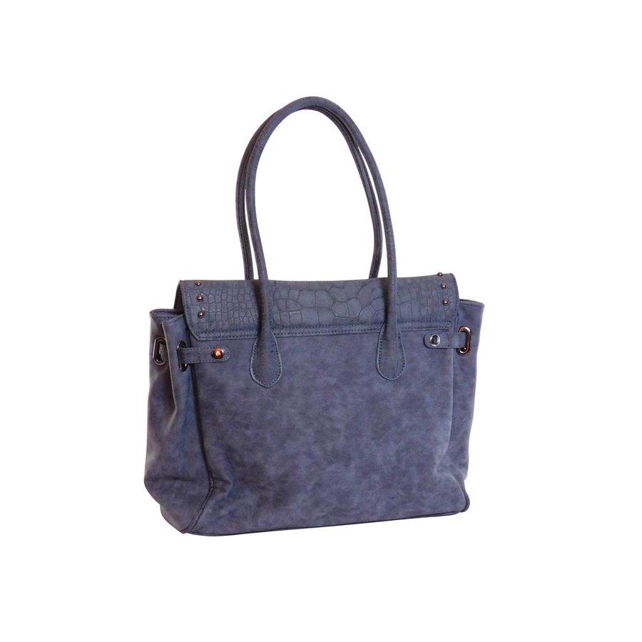 Blaue Kunstleder Handtasche mit Fransen-3