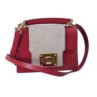 thumb-Kleine Rot/Graue Leder Handtasche-1