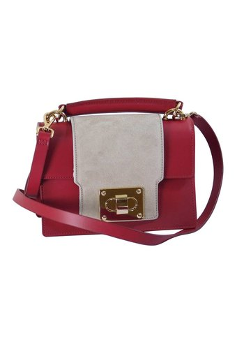 Made in Italia Kleine Rot/Graue Leder Handtasche