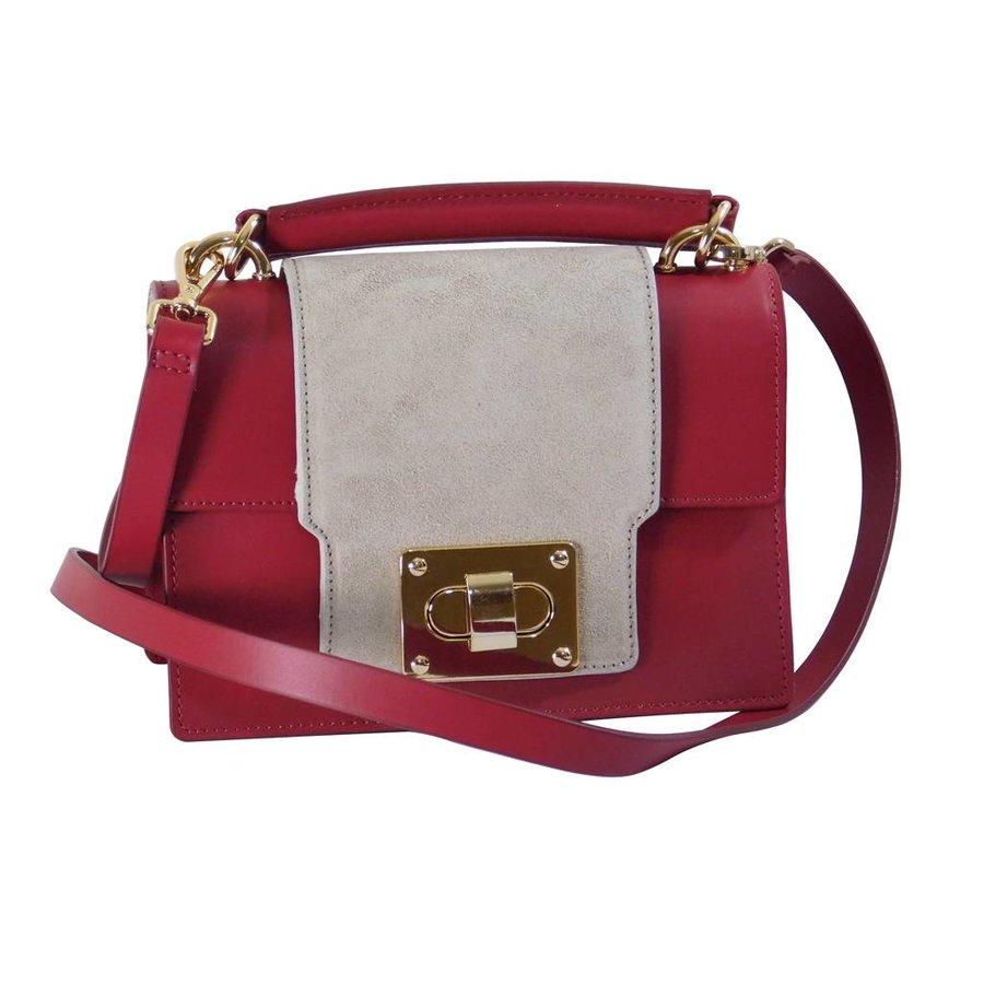 Kleine Rot/Graue Leder Handtasche-1