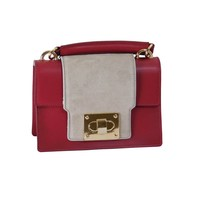 thumb-Kleine Rot/Graue Leder Handtasche-2