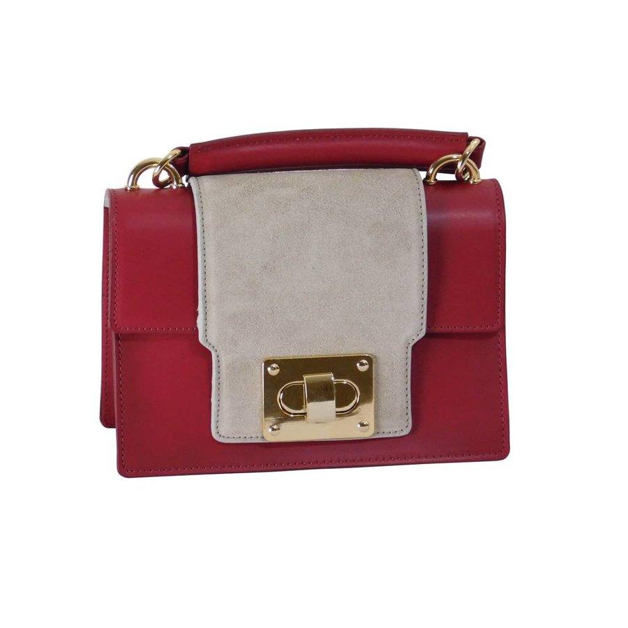 Kleine Rot/Graue Leder Handtasche-2