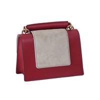 thumb-Kleine Rot/Graue Leder Handtasche-3