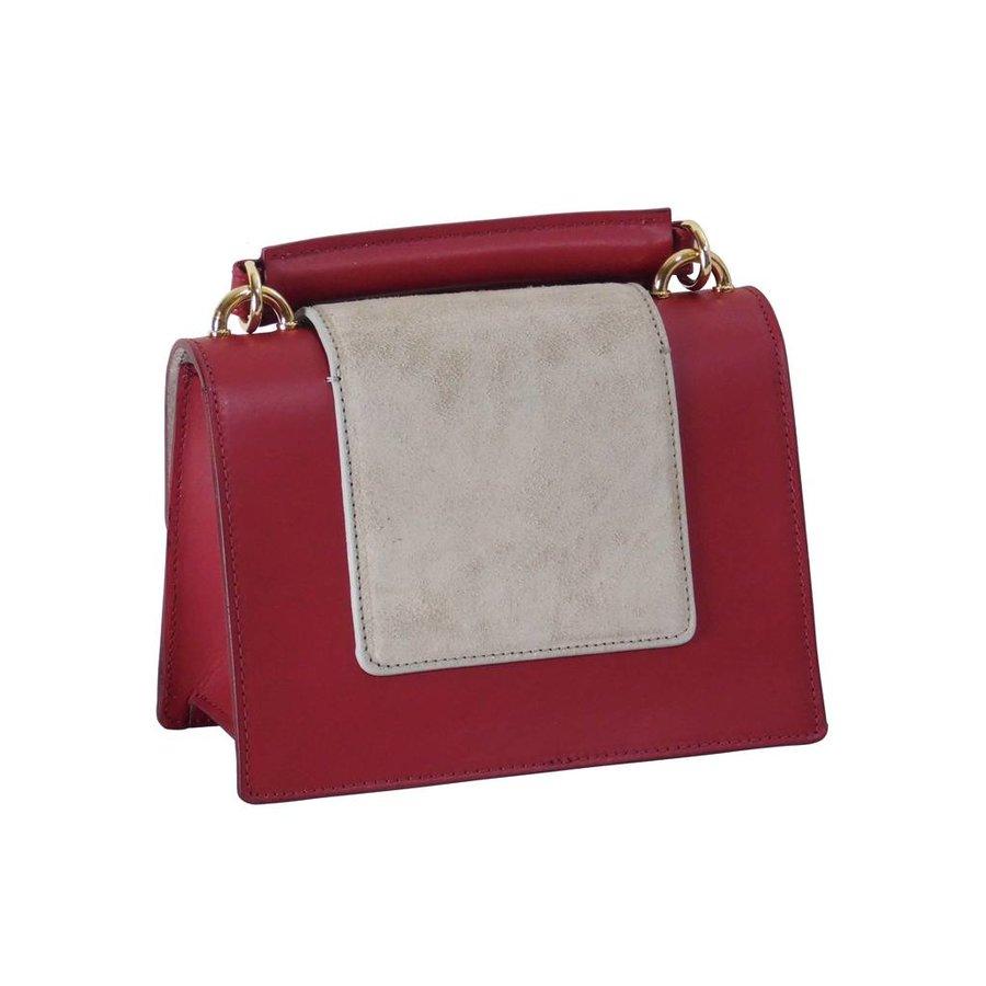 Kleine Rot/Graue Leder Handtasche-3