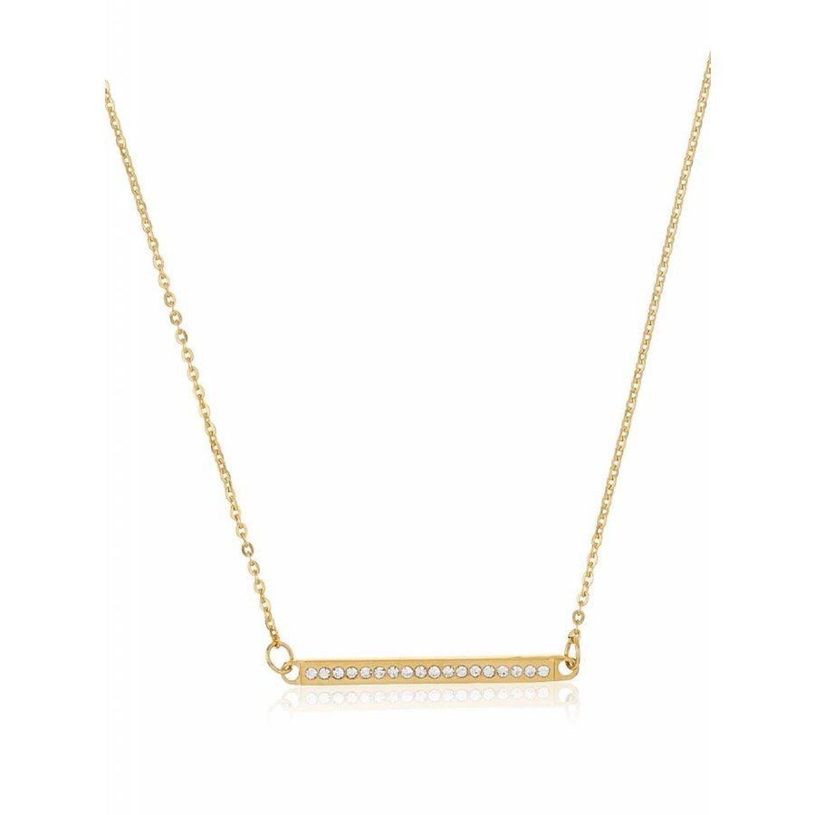Goldfarbig Halskette mit Harz Steine-1