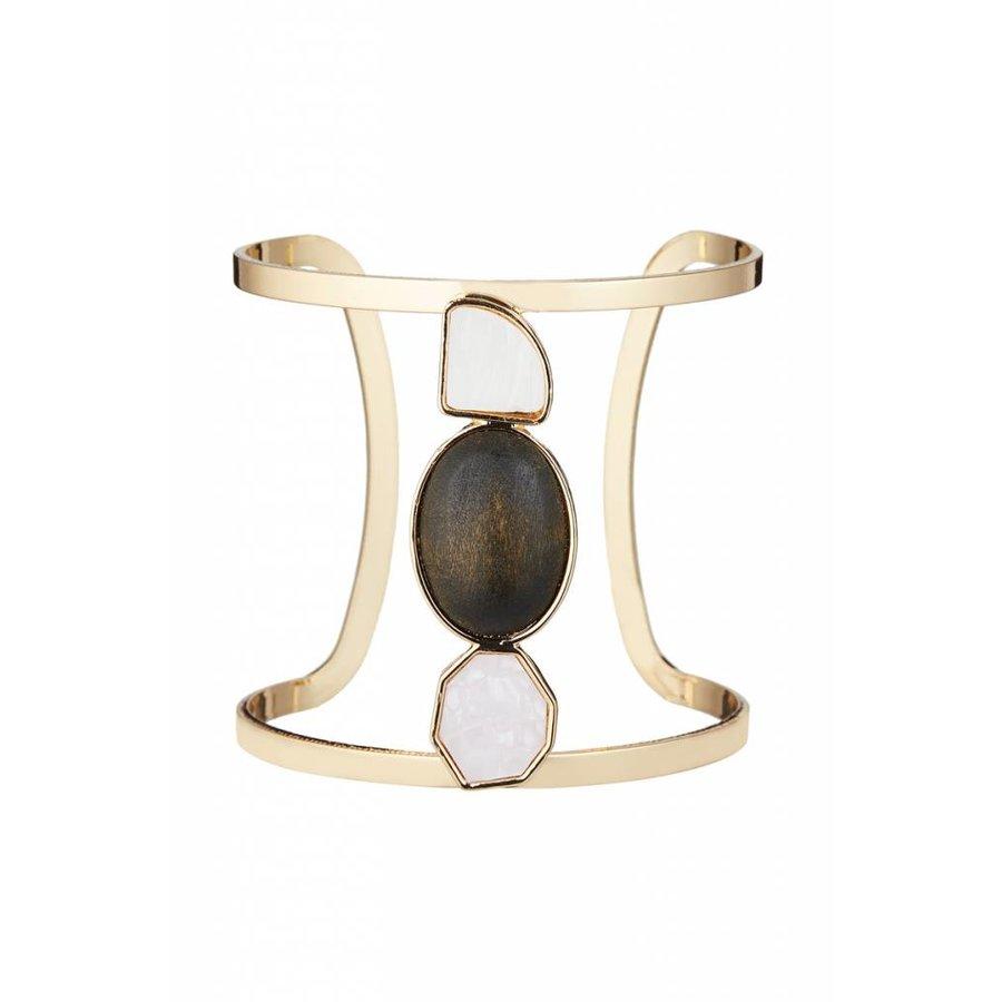 Goldfarbig/Schwarz/Hell Rosa WeißArmband mit Kunststoff Steine-1