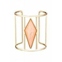 Goldfarbig Armband mit Lachsfarbiger Harz Stein