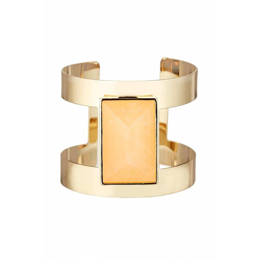 Goldfarbig Armband mit Orange Harz Stein-1