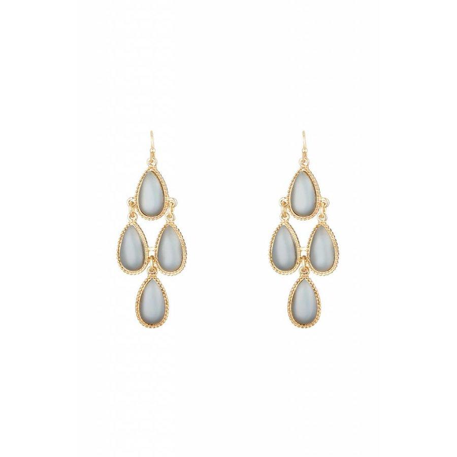 Goldfarbig Haken Ohrringe mit Graue Harz Steine-1