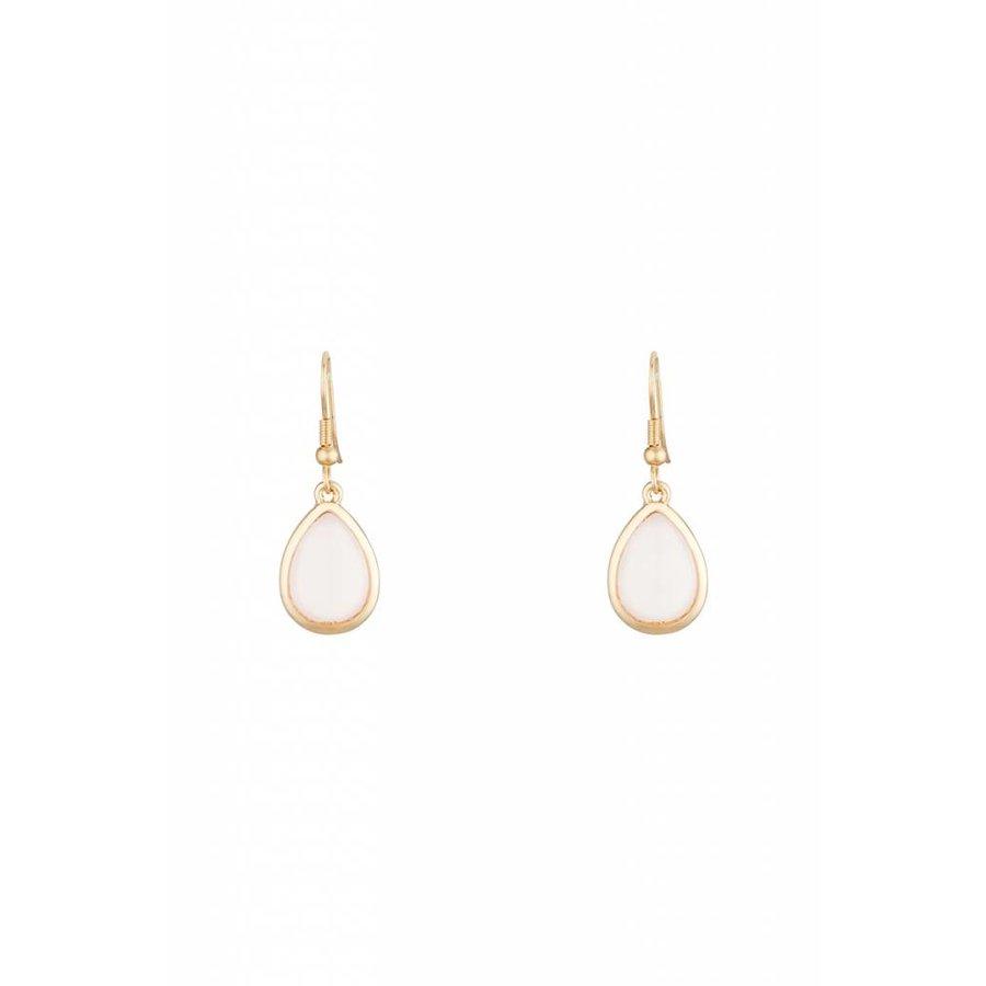 Goldfarbig Haken Ohrringe mit Rosa Harz Steine-1