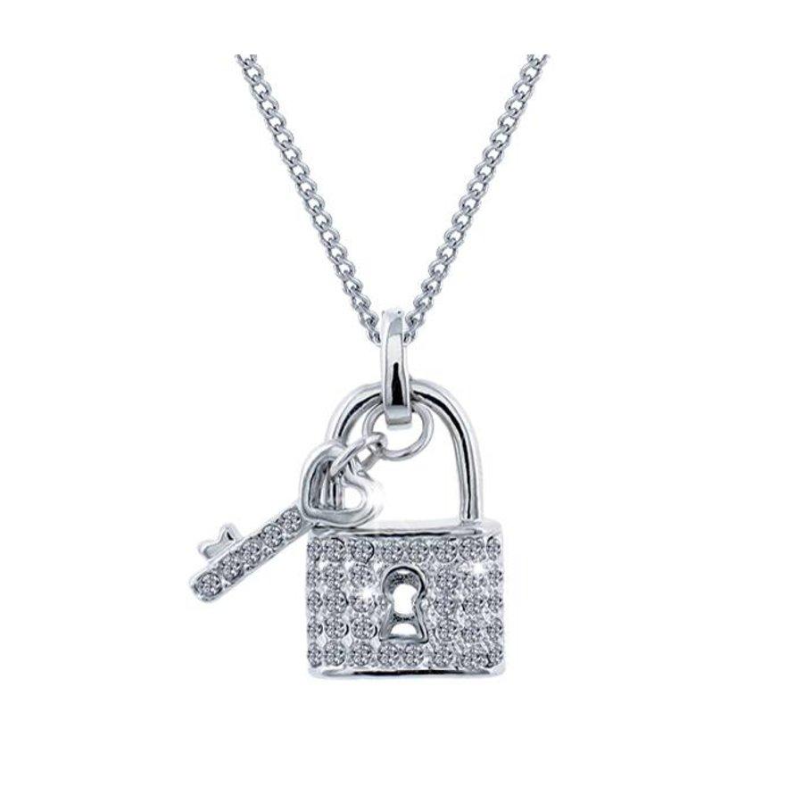 Feingliedrige Swarovski Elements Halskette mit Anhängerschloss-1