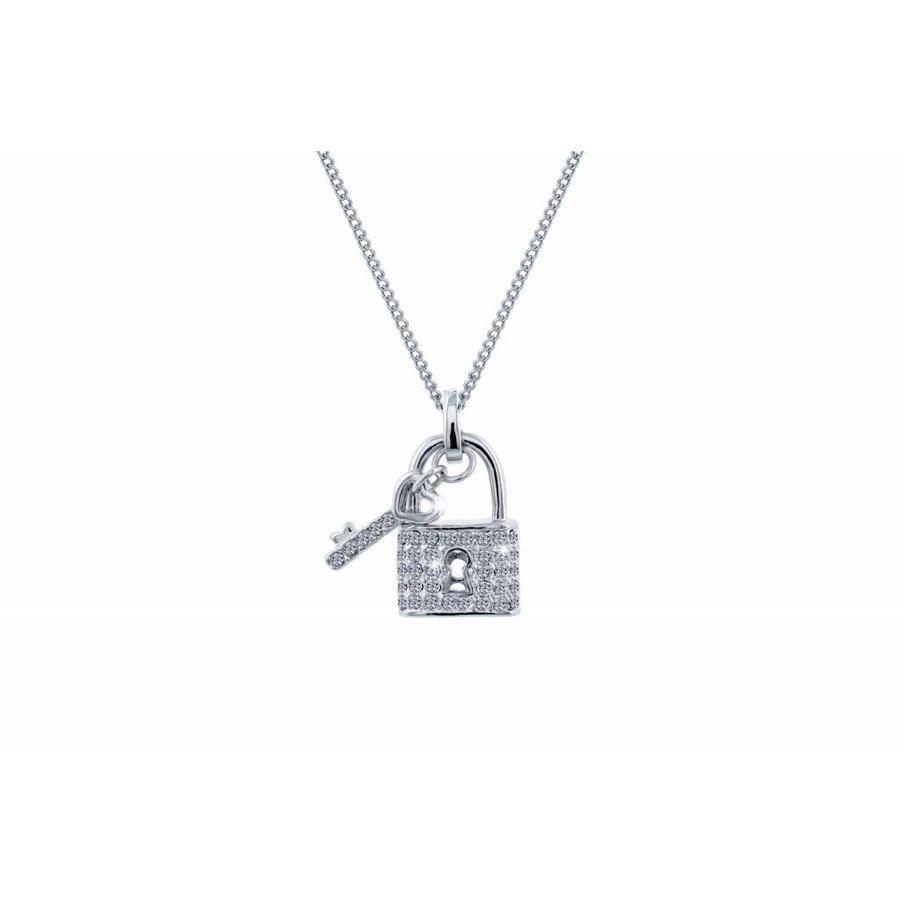 Feingliedrige Swarovski Elements Halskette mit Anhängerschloss-2