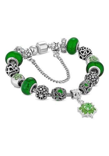 Diamond Style Bettelarmband mit Grünen Steine