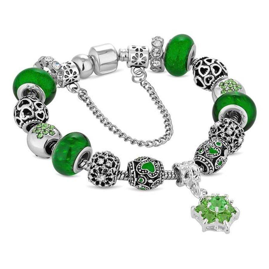 Swarovski Element Bettelarmband mit Grünen Steine-1