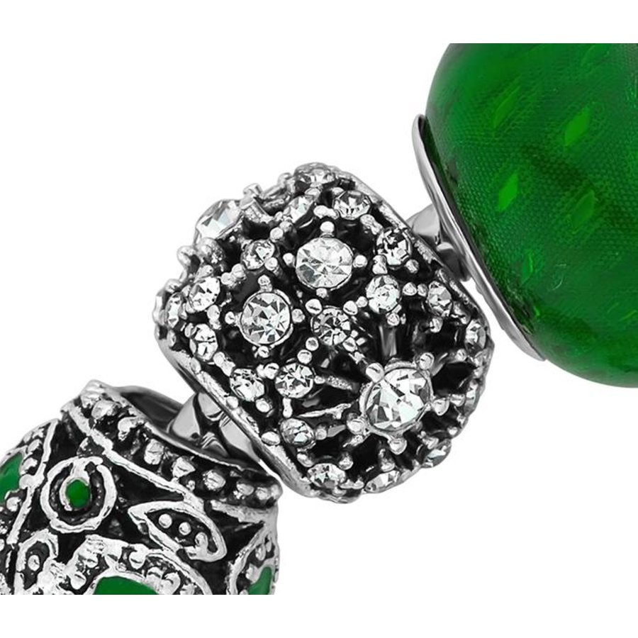 Swarovski Element Bettelarmband mit Grünen Steine-3