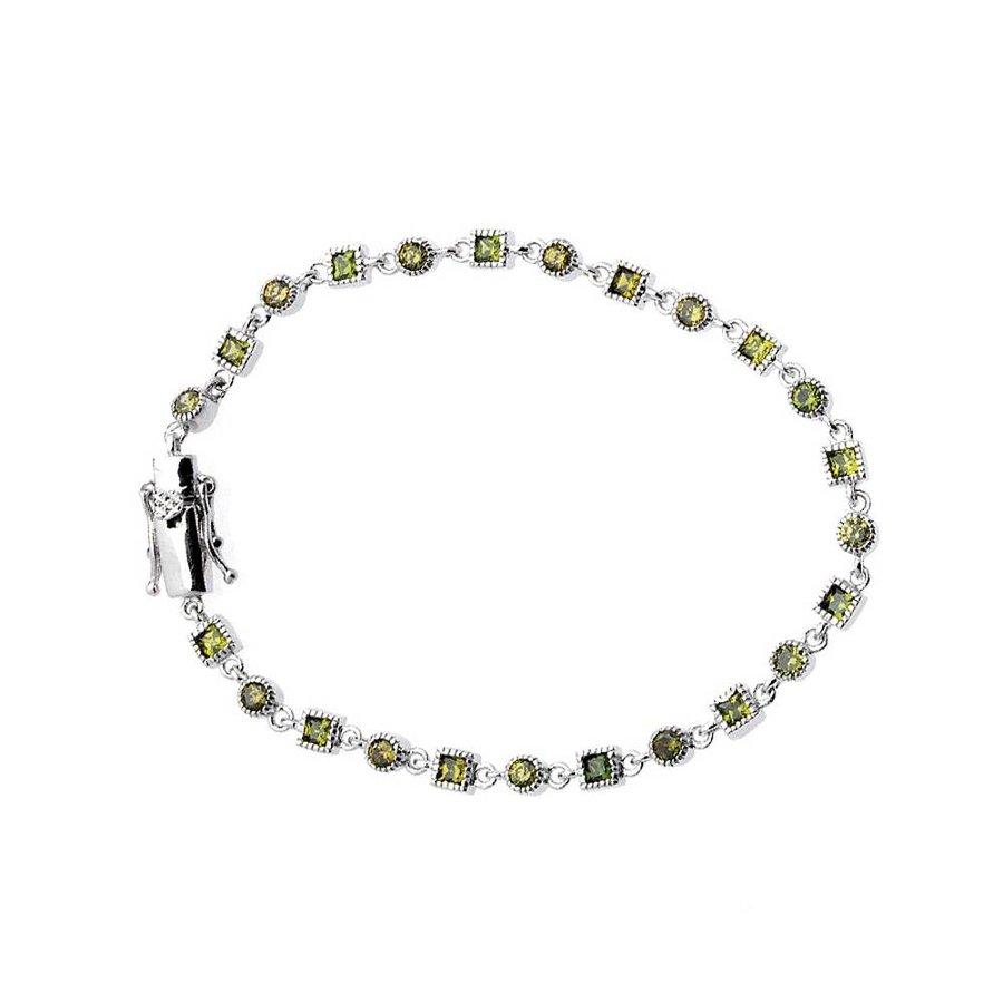 Sterling Silber Grüner Armband mit Grüne Zirkonia Steine-1