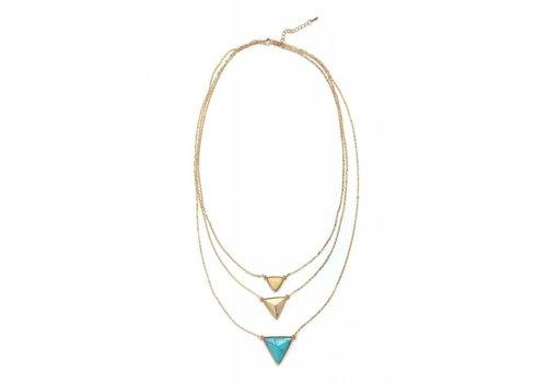 Torrente Schmuck  Goldfarbig 3er Halskette mit Harz Steine