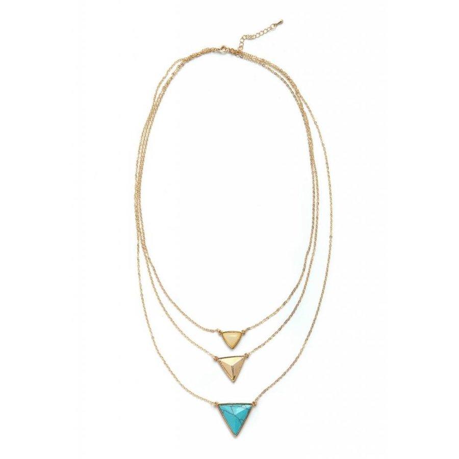 Goldfarbig/Türkis 3er Halskette mit Harz Steine-1