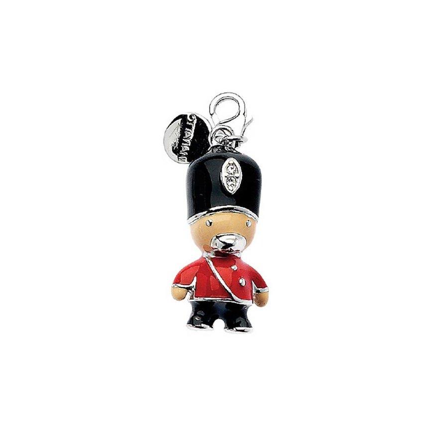 Schwarz/Rot/Beige (Grenadier Guards) Sterling Silber Anhänger-1