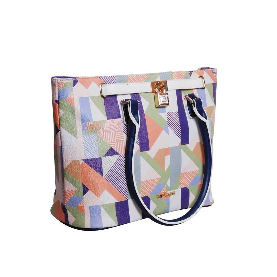 Weiß/Blau/Multifarben Kunstleder Handtasche/Kariert Muster-2