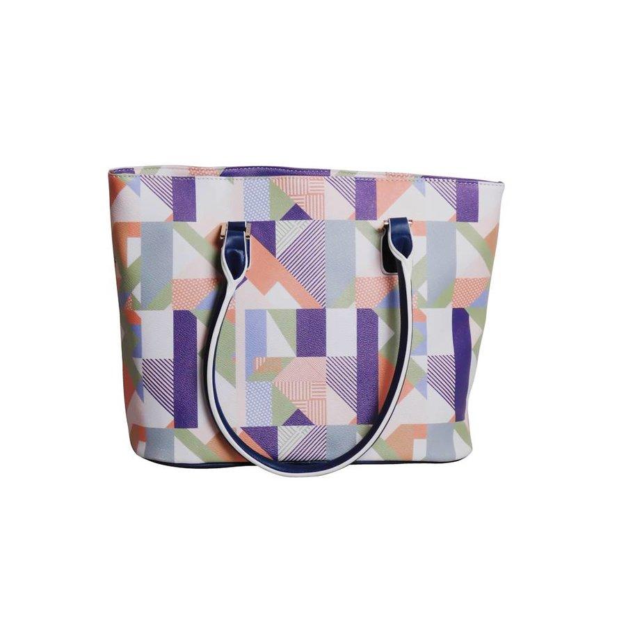 Weiß/Blau/Multifarben Kunstleder Handtasche/Kariert Muster-3