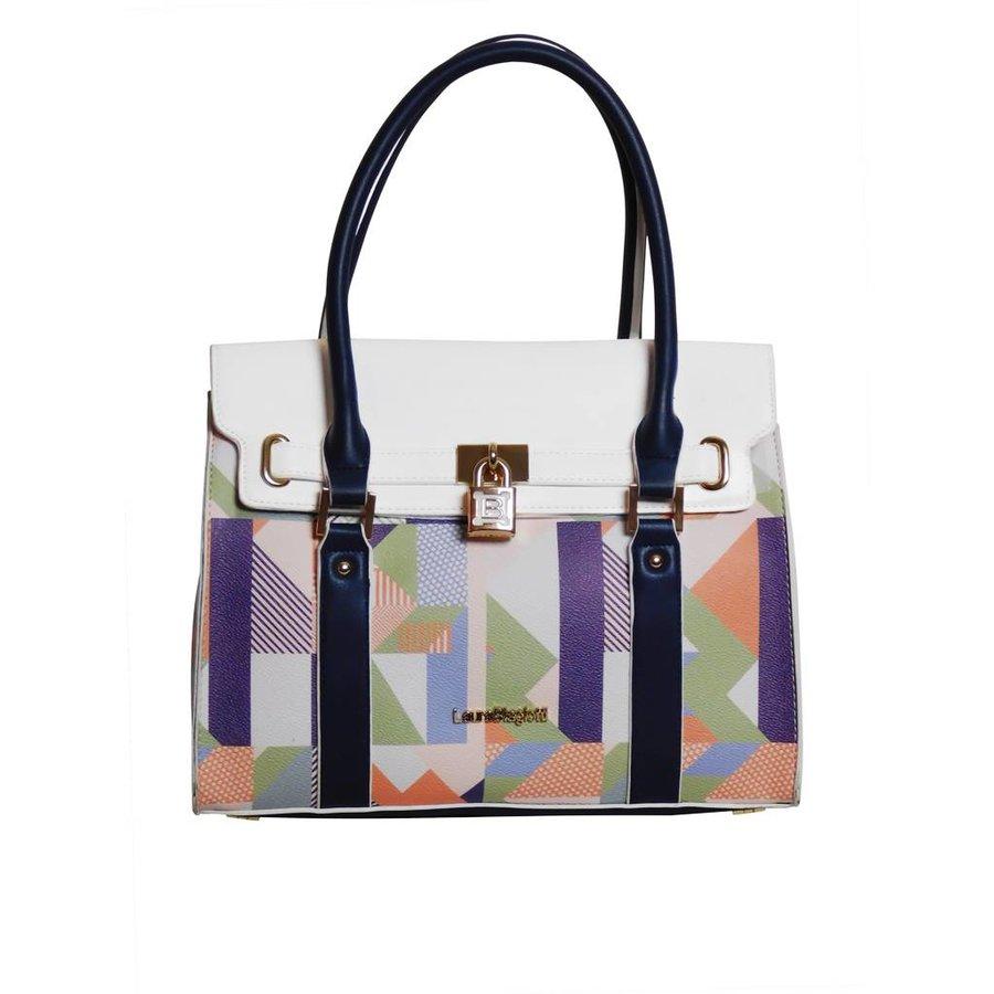Weiß/Blau/Multifarben Kunstleder Handtasche/Kariert Muster-1