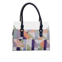 thumb-Weiß/Blau/Multifarben Kunstleder Handtasche/Kariert Muster-3