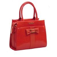 thumb-Rote PU Handtasche/Croco Muster-2