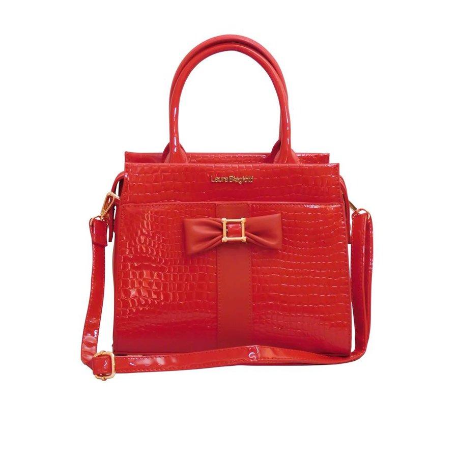 Rote PU Handtasche/Croco Muster-4