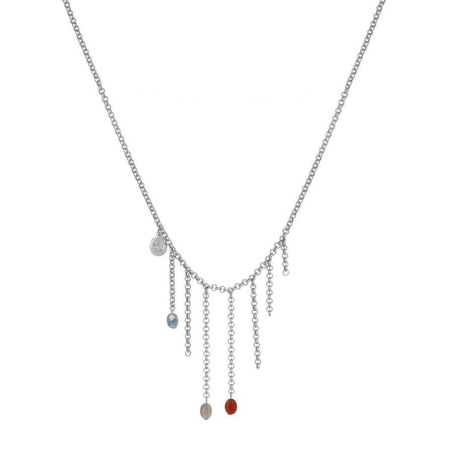Multi Stone/Versilberte Halskette Damen-1