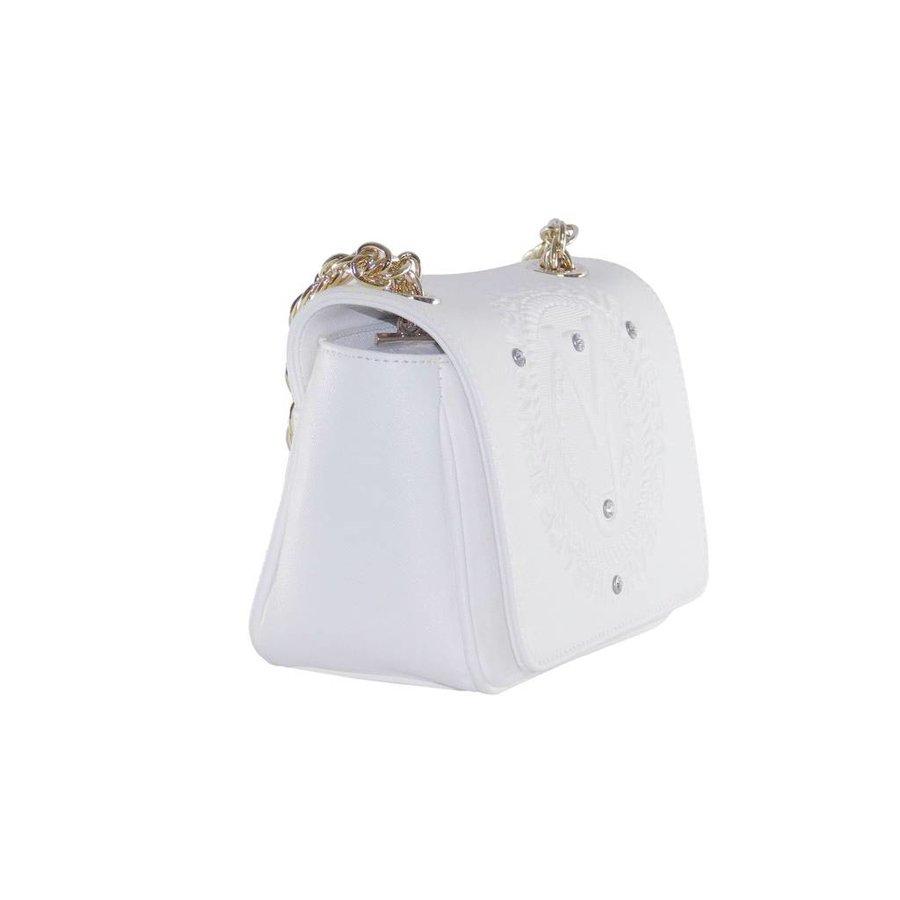 Kleine Weiße Kunstleder Umhängetasche-2
