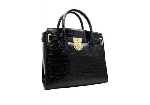 Guess Luxe Schwarze Leder Handtasche