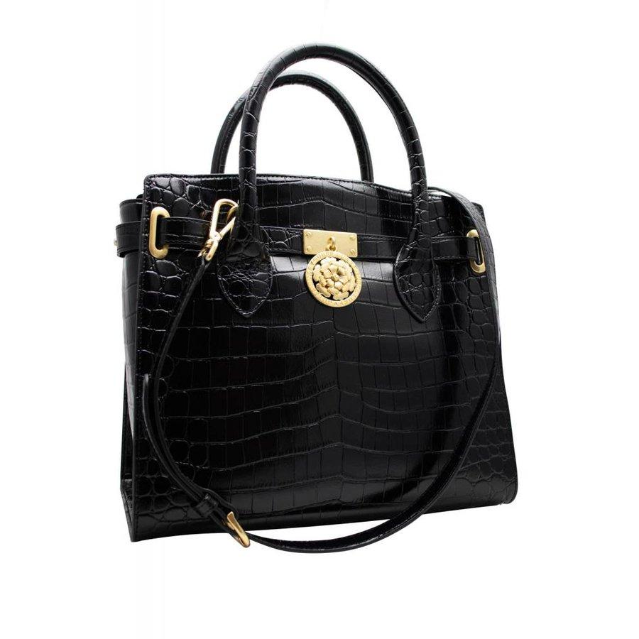 Schwarze Leder Handtasche mit Croco Optik-2