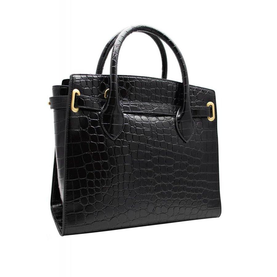 Schwarze Leder Handtasche mit Croco Optik-3
