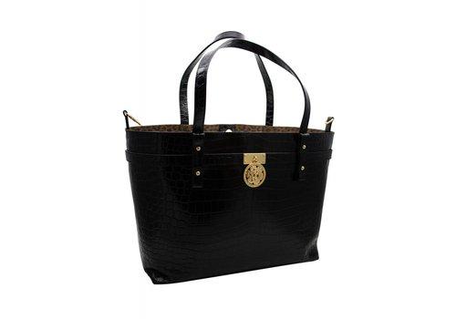 Guess Luxe Schwarze Leder Shopper mit Croco Optik