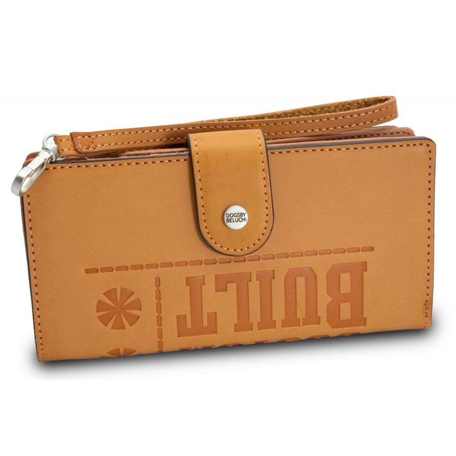 Braunes PU Portemonnaie mit Geprägte Schrift-2