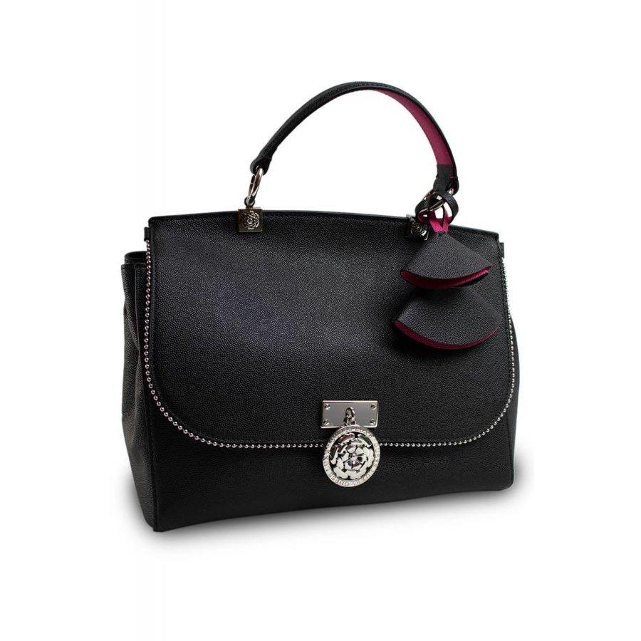 Schwarze Leder Handtasche mit Samt Innenfutter-2