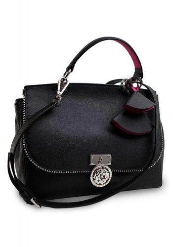 Guess Luxe Schwarze Leder Handtasche mit Samt