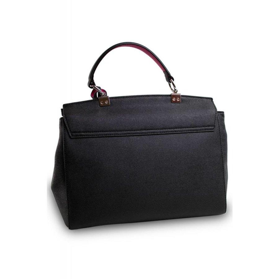 Schwarze Leder Handtasche mit Samt Innenfutter-3