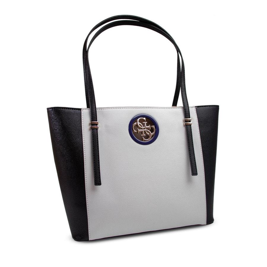 Schwarz/Weiß Kunstleder Handtasche-1